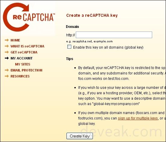 Create a reCAPTCHA API Key