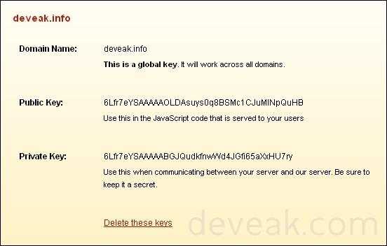 reCAPTCHA Admin